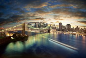 City, здания, night, buildings, sea, cloud, мосты, город, landscape, bridge, lights