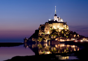 нормандия, mont saint-michel, castle, normandy, франция, France, island